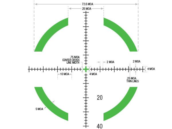 RS27-C-1900027: AccuPower® 1-8x28 Riflescope MOA Segmented Circle Crosshair w/Green LED, 34mm Tube